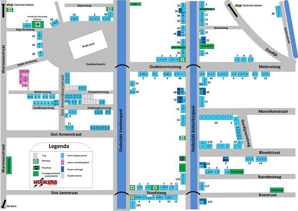 Plattegrond Amsterdamse wallen; de rosse buurt van Amsterdam in kaart